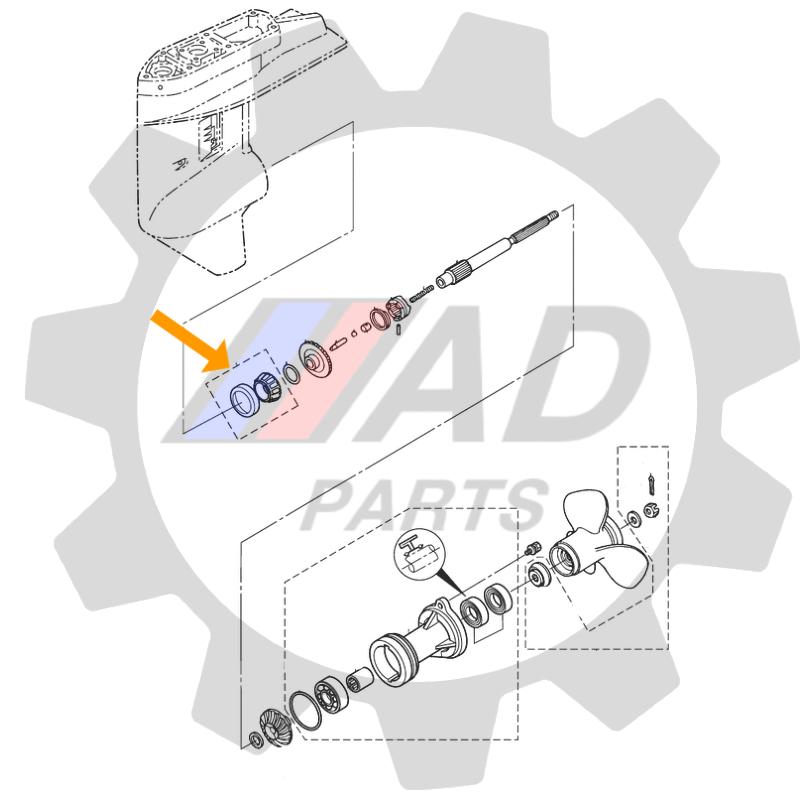 Rolamento Eixo propulsão Motores Mercury e Tohatsu 25HP-30HP
