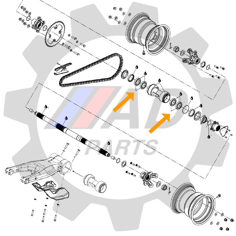 Rolamento Eixo Traseiro CAN AM DS 450 de 2008 até 2011