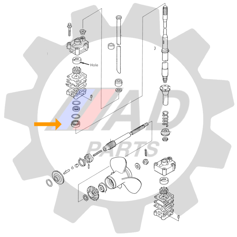 Rolamento Eixo Vertical Motores Mercury e Tohatsu 25HP-30HP