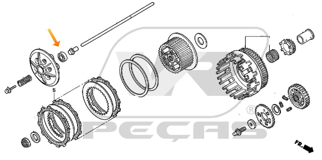 Rolamento Embreagem HONDA CBR600/CBR650/CB900/CBR900 de 1996 até 2020