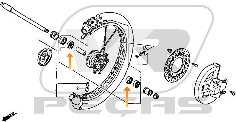 Rolamento Roda Dianteira HONDA CR/CRF de 1995 até 2020