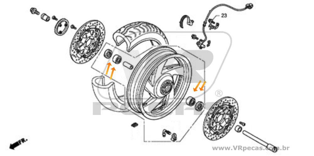 Rolamento Roda Dianteira HONDA Goldwing 2000 até 2017