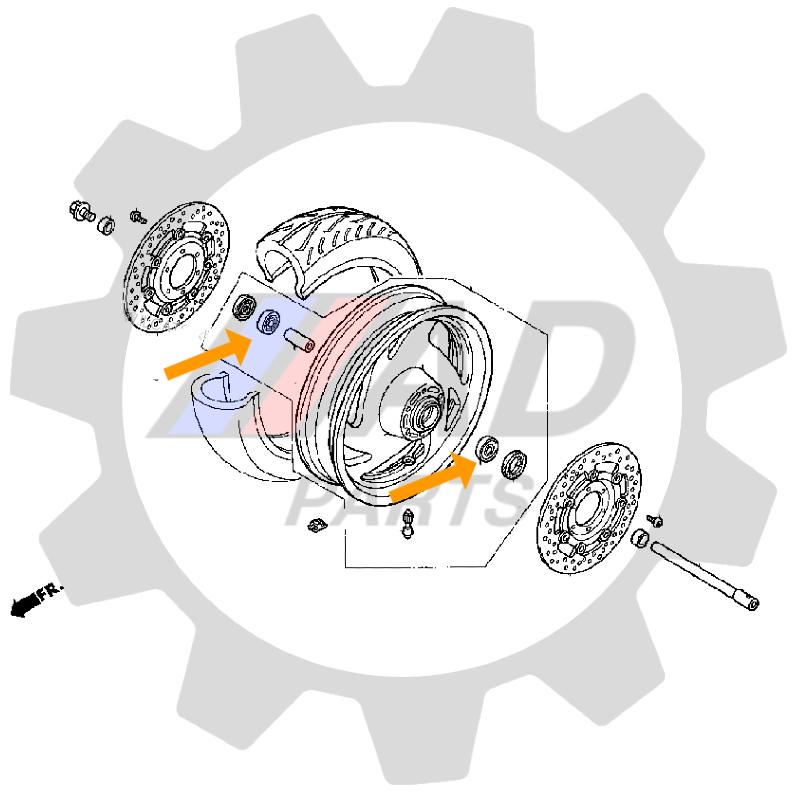 Rolamento Roda Dianteira HONDA VTX 1800 de 2002 até 2008