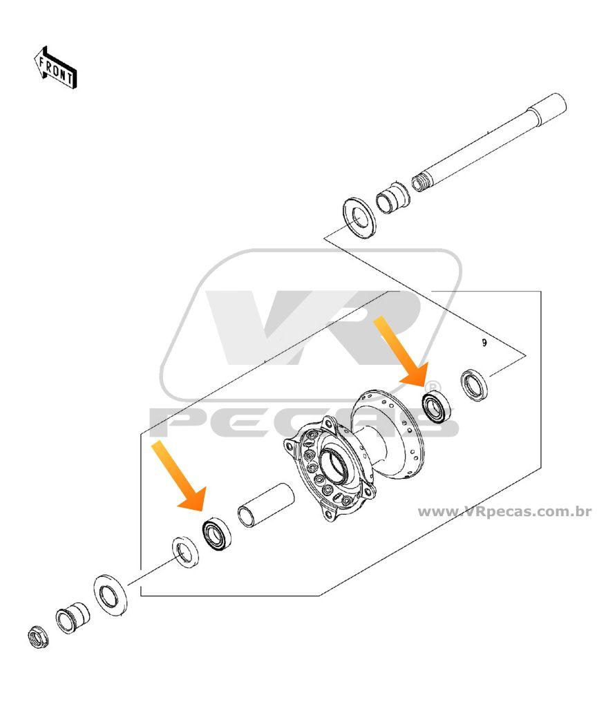 Rolamento Roda Dianteira KAWASAKI KX 1993 até 2017