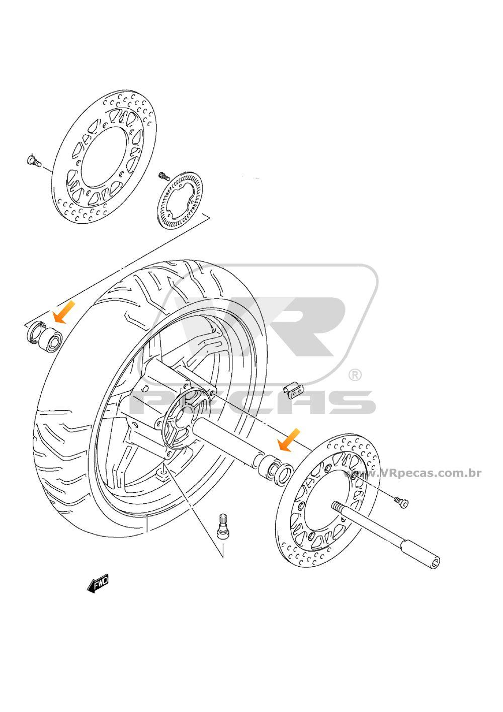 Rolamento Roda Dianteira SUZUKI Burgman 2004 até 2017