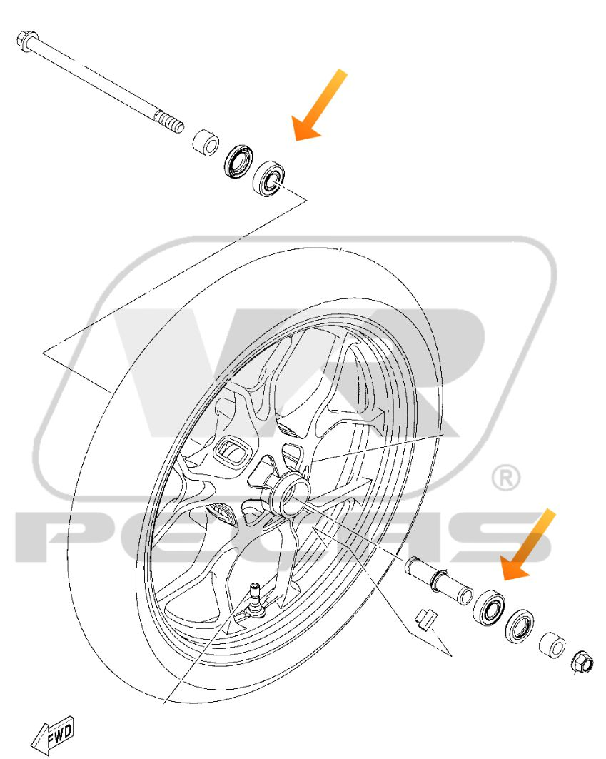 Rolamento Roda Dianteira YAMAHA MT07/MT09 Tracer 2016 até 2020