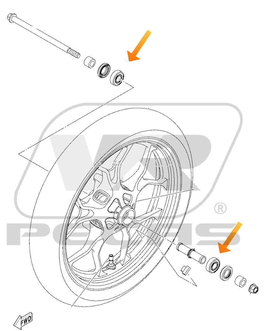 Rolamento Roda Dianteira YAMAHA R3/MT03 2016 até 2020