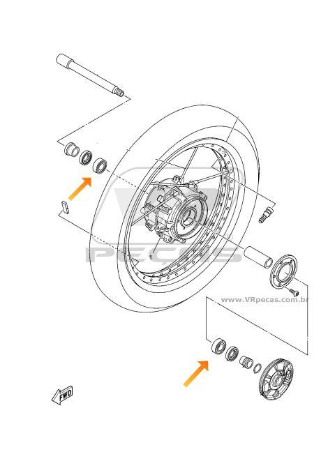 Rolamento Roda Dianteira YAMAHA Super Tenere 2012 até 2019