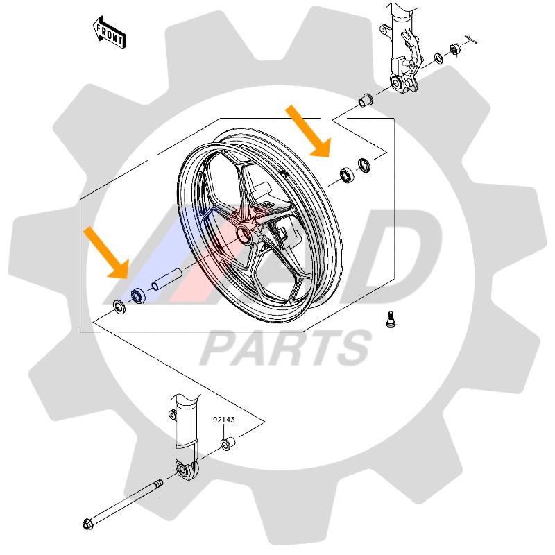 Rolamento Roda Dianteira Yamaha VMAX 1200 de 1993 até 2005