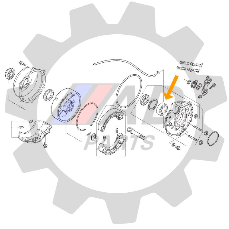 Rolamento Roda Traseira HONDA TRX 2014 até 2019 (lado freio)