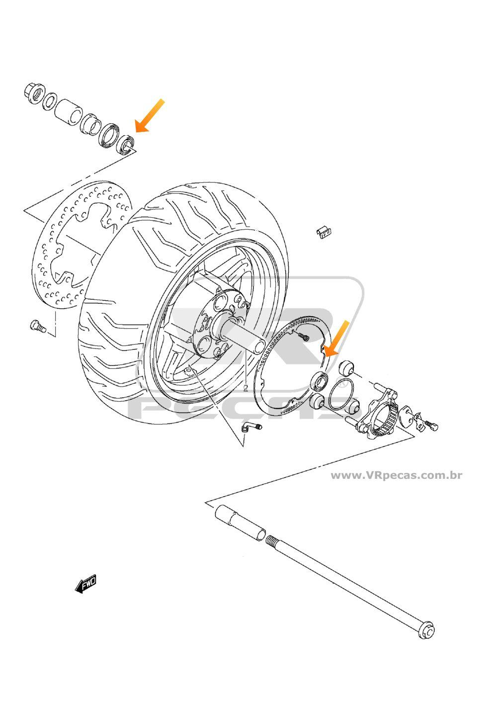 Rolamentos Roda Traseira SUZUKI Burgman de 2004 até 2017