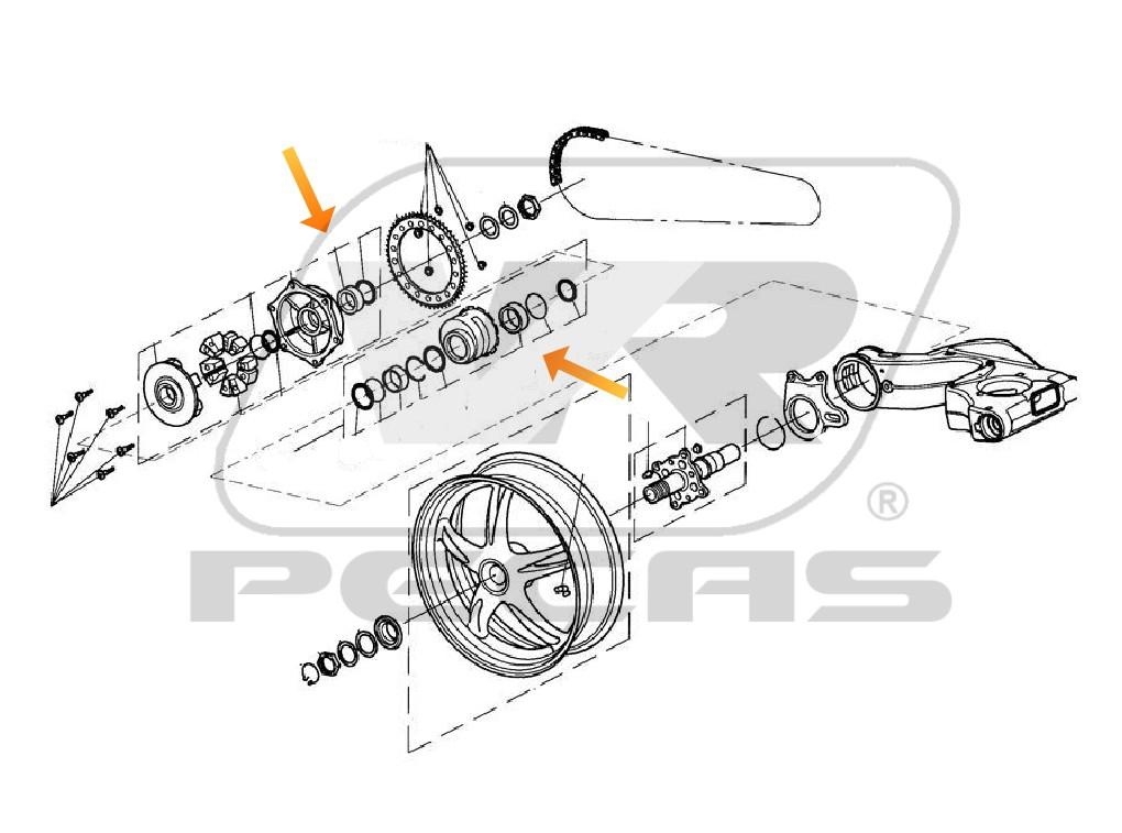 Rolamento Roda Traseira Triumph Daytona/Speed Triple/Sprint GT