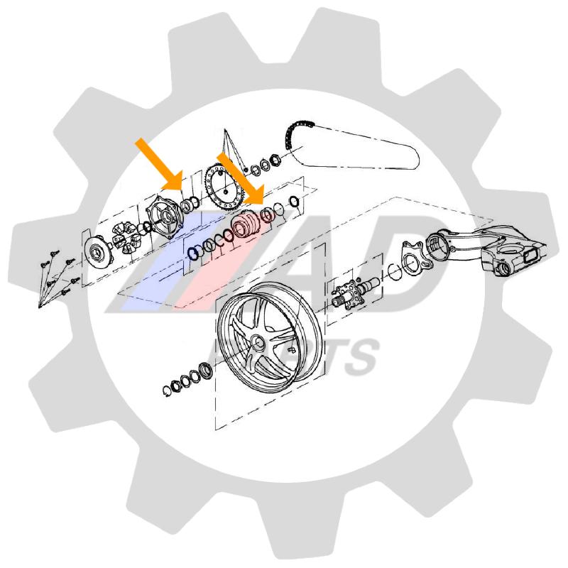 Rolamento Roda Traseira Triumph Speed Triple 1994 até 2017