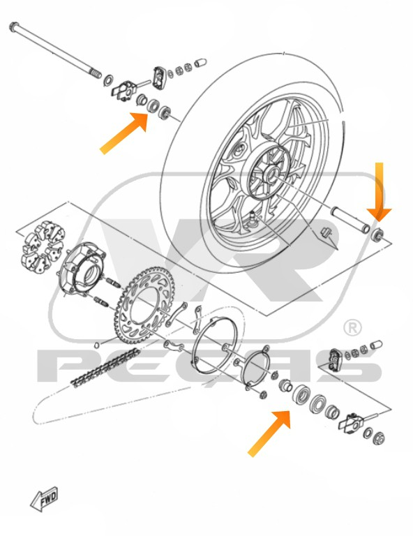 Rolamento Roda Traseira YAMAHA R3/MT03 2016 até 2020