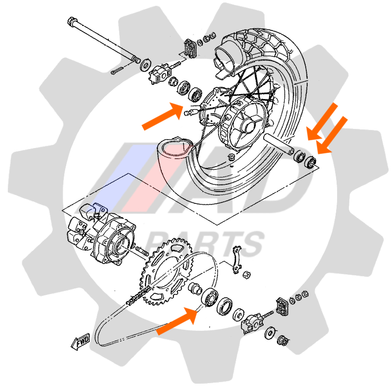 Rolamento Roda Traseira YAMAHA Super Tenere 2012 até 2019