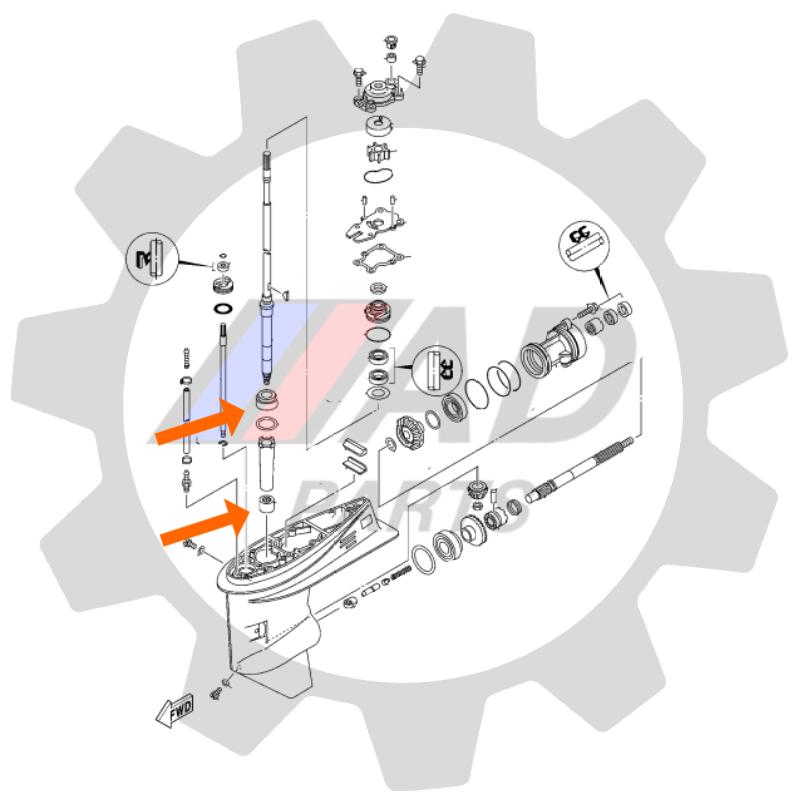 Rolamentos Eixo Saida Motor Yamaha F40