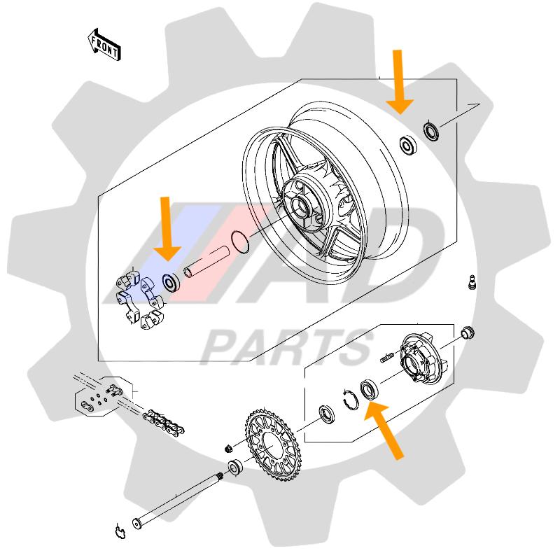 Rolamentos Roda Traseira BMW S1000RR de 2009 até 2018