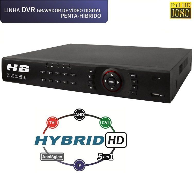DVR 16 CANAIS H.264 HDAHD+ANALOG+HD-TVI+HD-CVI+IP(1080P) REPLAY