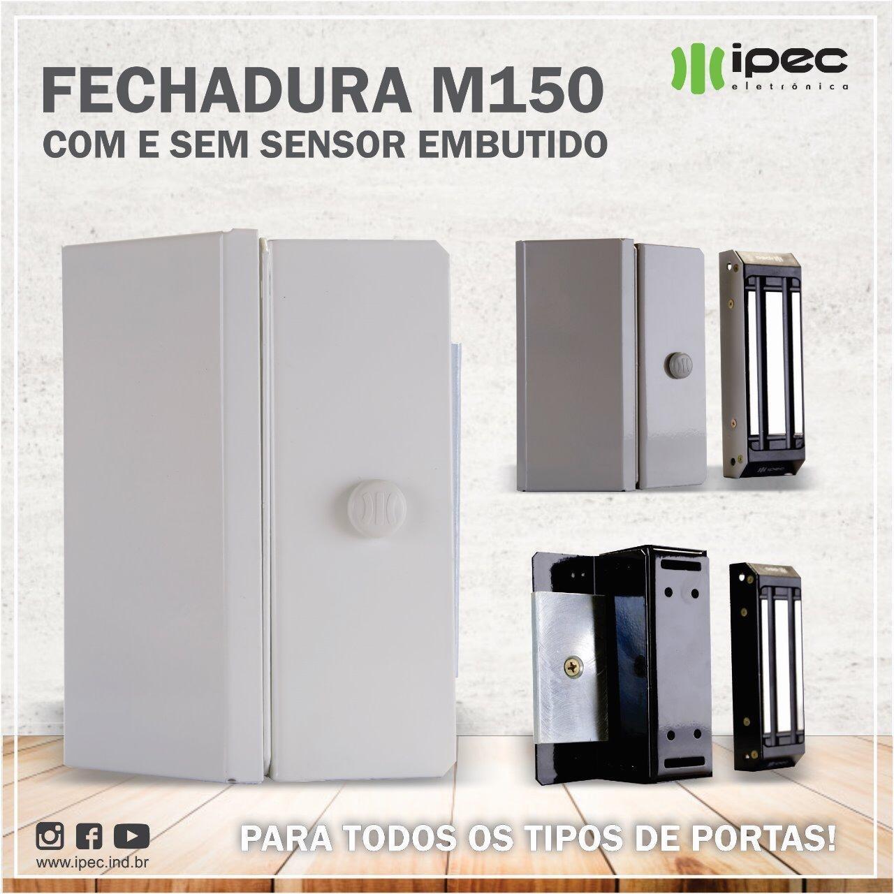 FECHADURA MAGNETICA M150 ECO COM SENSOR - PRETA