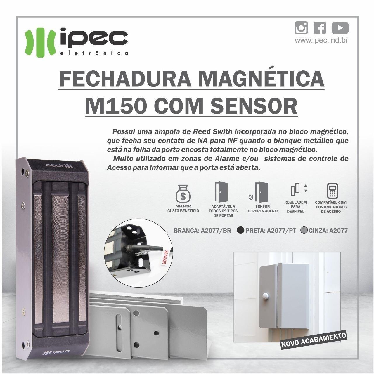 Fechadura Magnética M150 Eco Com Sensor - Preta