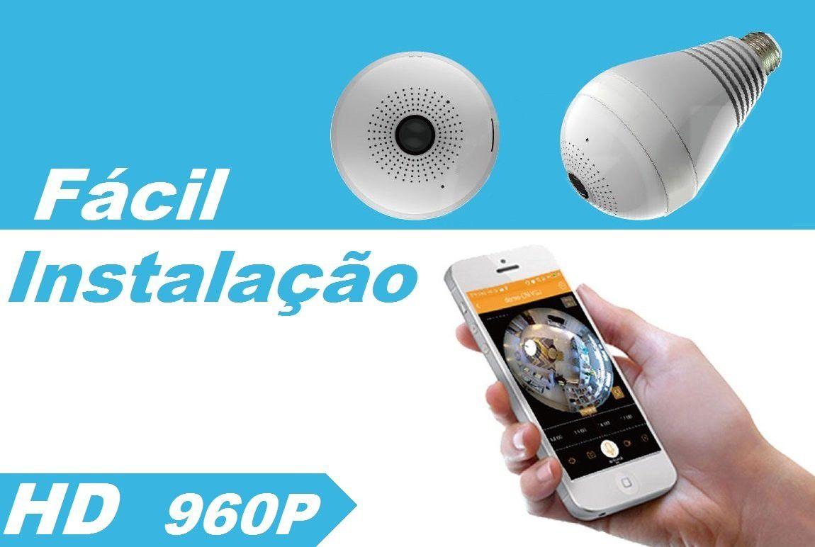 LAMPADA CAMERA LED WIFI IP HD PANORAMICA 360º ESPIAO CELULAR