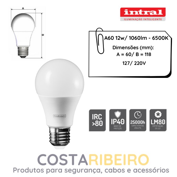 LAMPADA LED BULBO A60  12W -1060lm-6500K 100-240V BRC FRIO