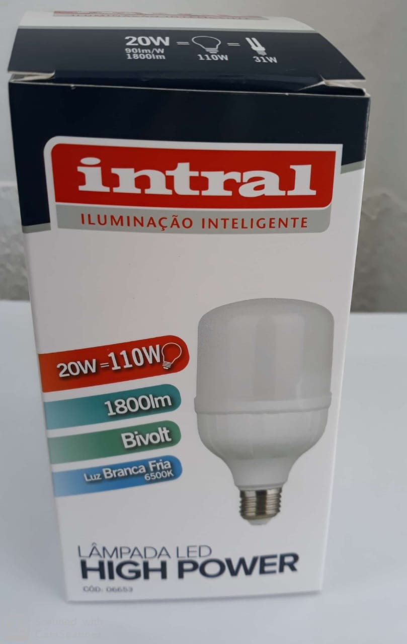LAMPADA LED HIGH POWER 20W - 1800lm - 6500K - BRC FRIO