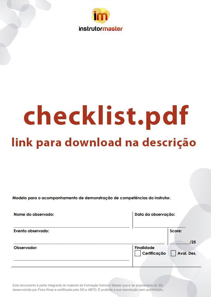 Checklist - Instrutor Master