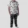 Pijama Camiseta Gato Cães e Gatos Calça Estampada