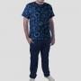 Pijama Camiseta Sistema Solar Minimalista Calça Lisa
