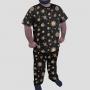 Pijama Camiseta Sistema Solar Monocromático Calça Estampada