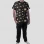 Pijama Camiseta Sistema Solar Monocromático Calça Lisa