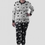 Pijama Manga Longa Gato Cães e Gatos Branco Calça Estampada