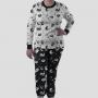 Pijama Manga Longa Gato Cães e Gatos Calça Estampada
