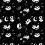 Pijama Manga Longa Gato Cães e Gatos Preto Calça Estampada