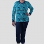 Pijama Manga Longa Oceanografia Calça Lisa