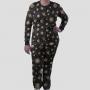 Pijama Manga Longa Sistema Solar Monocromático Calça Estampada