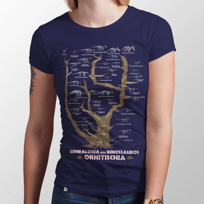 Camiseta Genealogia dos Dinossauros Ornitischia - Feminino