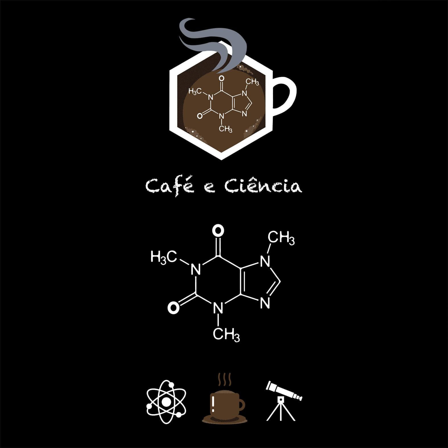 Camiseta Masculina Café e Ciência
