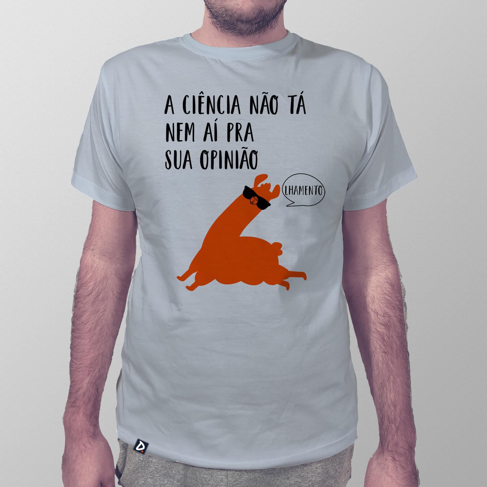 Camiseta Masculina Ciência e Opinião Lhama Edition