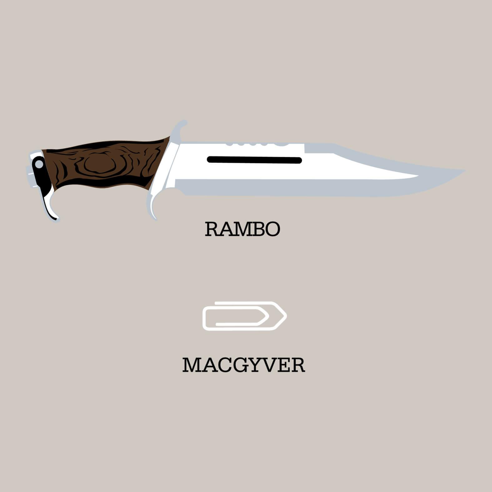 Camiseta Masculina Rambo vs. McGyver