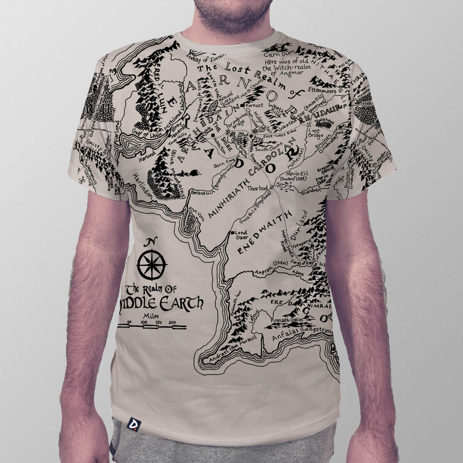 Camiseta Masculina Total Mapa Terra Média