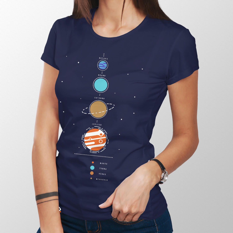 Camiseta Sistema Solar - Feminino