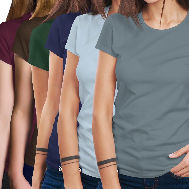 bb700fdf40 Combo 6 Camisetas Básicas - Feminino - Doppel Store