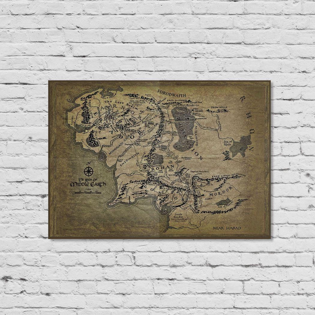 Pôster Mapa Terra-média