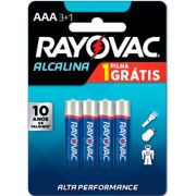 Pilha Alcalina AAA com 4 - Rayovac