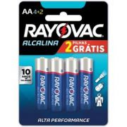 Pilha Alcalina AA com 6 - Rayovac