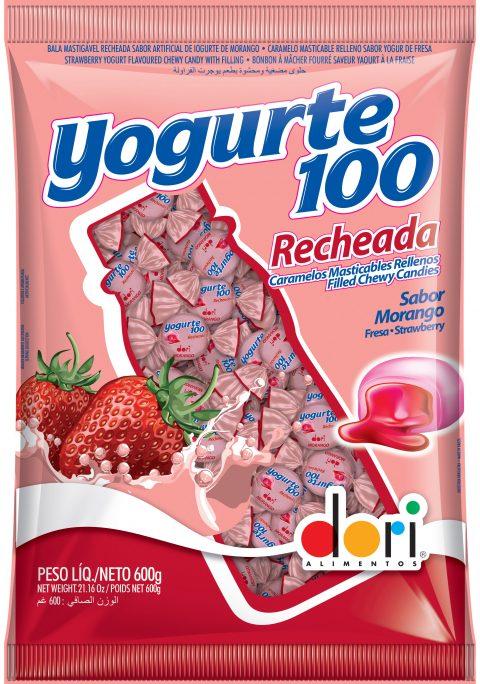 Bala Yogurte 100 Recheada Morango 600g
