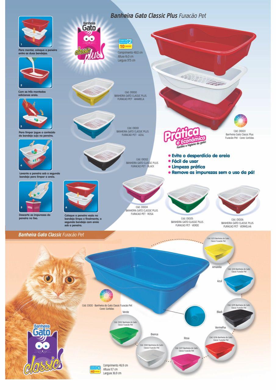 Banheira Gato Classic Cores Sortida - Furacão Pet