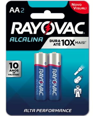 Caixa com 72 Cartelas AA Pequena Alcalina c/ 2un - Rayovac